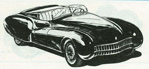 Skica dvojsedadlového roadsteru K&K Speciál (1946