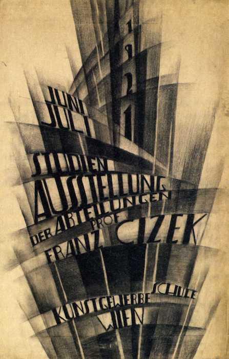 Paul Kirnig: Návrh plagátu na výstavu prác žiakov profesora Franza Cizeka, 1921.