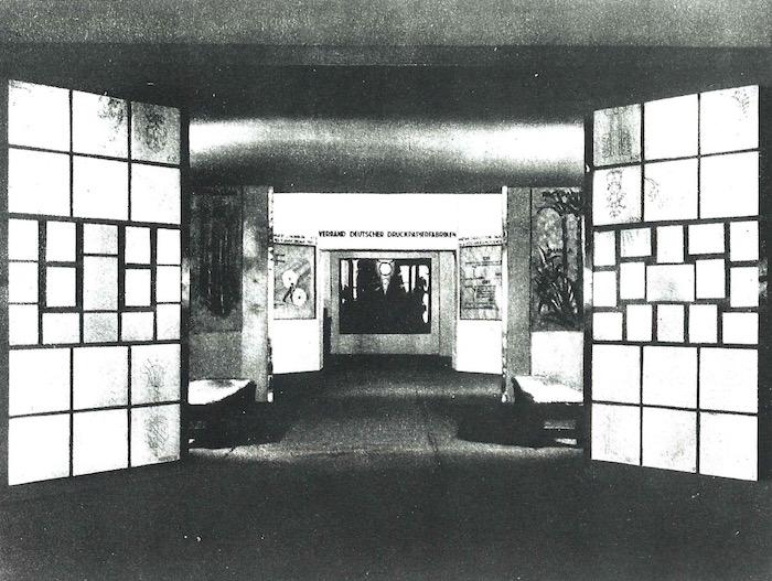 Kölner Werkschulen, Klasse Altenkirch, Ausst.-Arch. abteilung Verband Dt. Druckpapierfabriken, Presse- Ausstellung Köln, 1928.