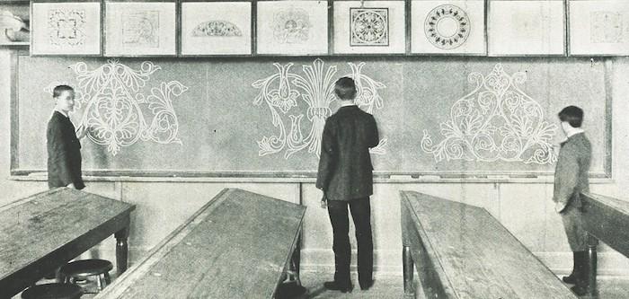 Imaginatívny obojručný ornament, in.: J. Liberty Tadd, New Methods of Art Education, Public School of Industrial Art, Philadelphia 1899, s. 66.