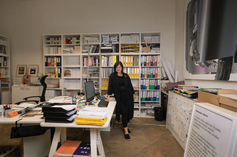 Portrait of Sylvia Jokelová in the office of the Academy of Fine Arts and Design in Bratislava, Slovakia (© Šymon Kliman)
