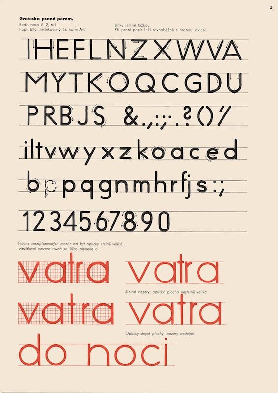 Zdeněk Rossmann: Předlohy pro odborné kreslení typografické, 1936. Zbierky Slovenského múzea dizajnu