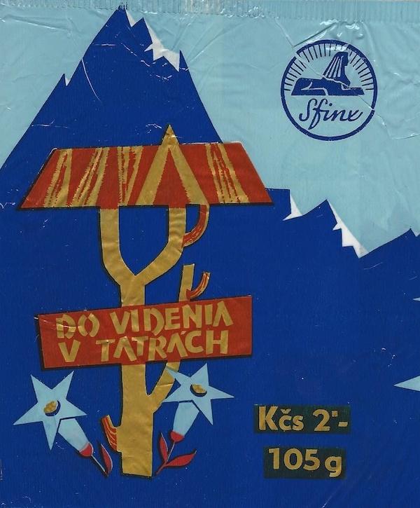 Dovidenia vTatrách, obal na cukrovinky, gumotlač na celofáne. Realizované pre Československé čokoládovny, o. p., závod Sfinx Holešov, 60. roky 20. storočia