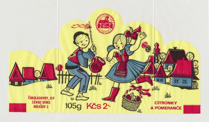 Citronky apomeranče, obal na cukrovinky, gumotlač na celofáne. Realizované pre Československé čokoládovny, o. p., závod Sfinx Holešov, 60. roky 20. storočia
