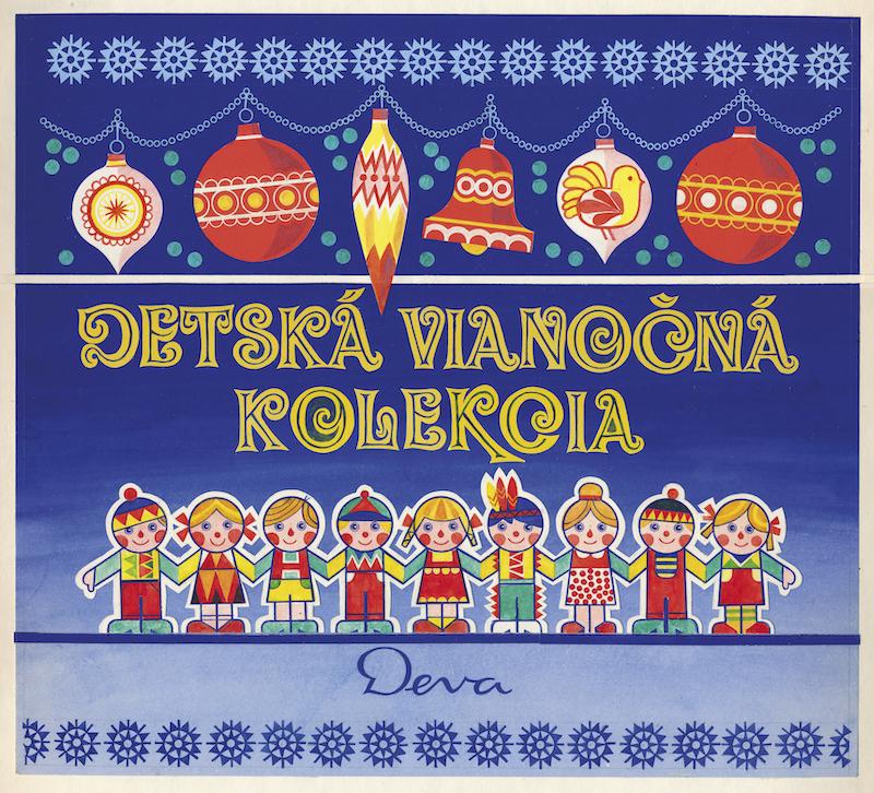 Detská vianočná kolekcia, návrh na krabicu fondánových cukroviniek, kombinovaná technika na papieri. Realizované pre n.p. Deva, závod Trebišov, začiatok 80. rokov 20. storočia