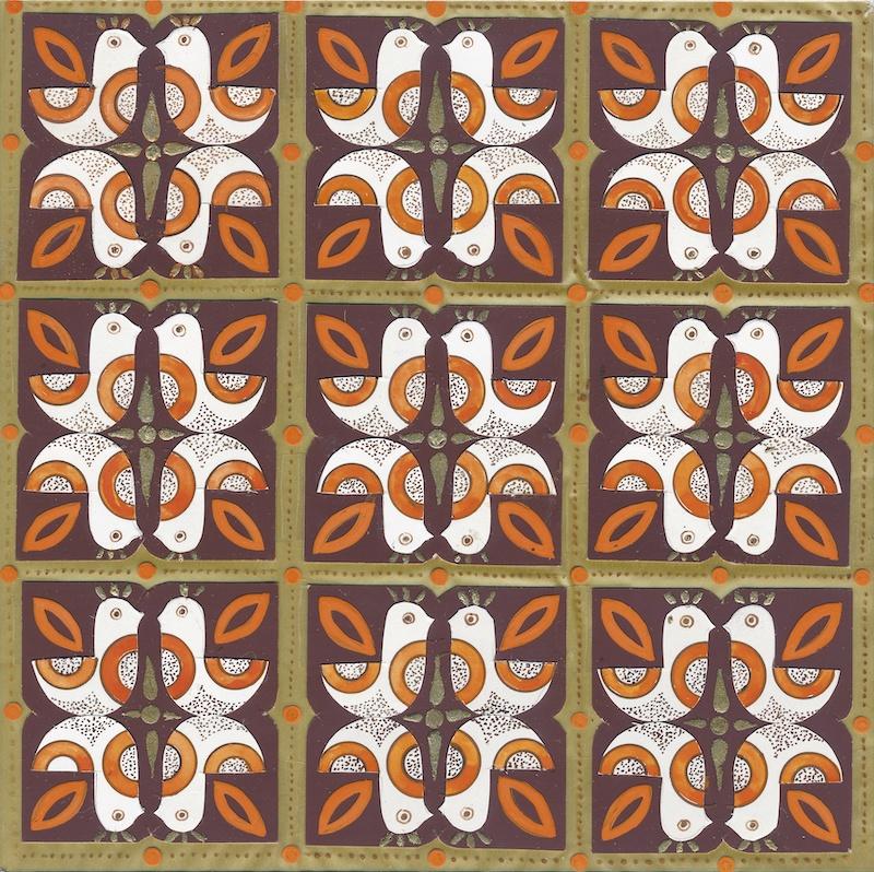 Návrh dezénu obrusu inšpirovaný ľudovou kultúrou, kombinovaná technika na papieri, 70. roky 20. storočia