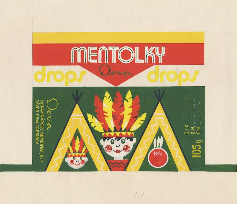 Mentolky drops, návrh na celofánový obal, kombinovaná technika na papieri, 70. – 80. roky 20. storočia. Nerealizované