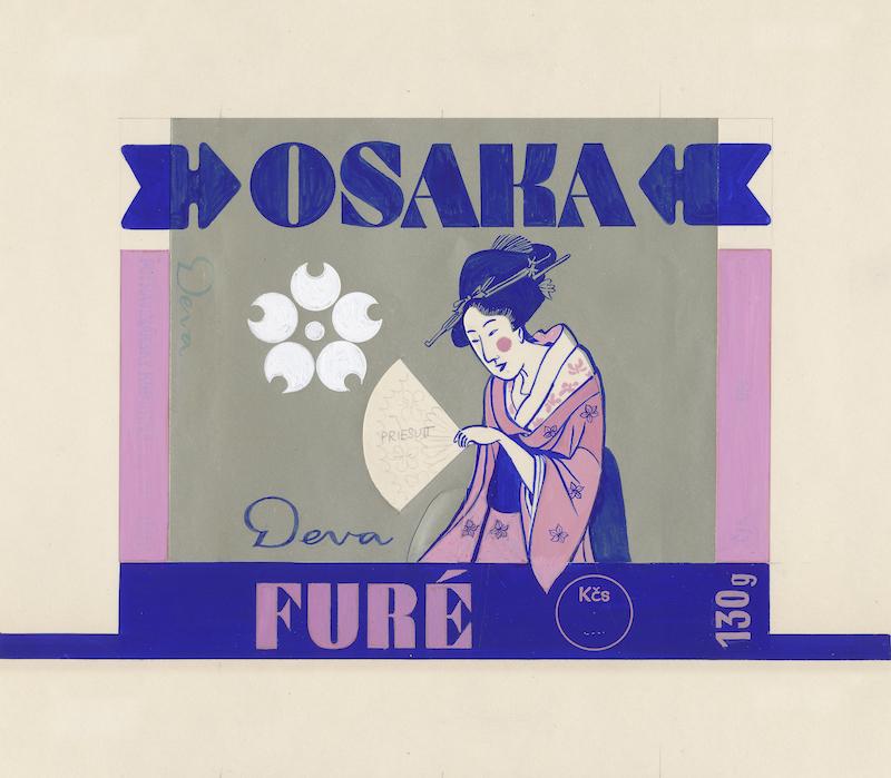Osaka furé, návrh na celofánový obal, kombinovaná technika na papieri, 70. – 80. roky 20. storočia. Nerealizované