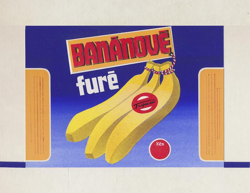 Banánové furé, návrh na celofánový obal, kombinovaná technika na papieri, 70. – 80. roky 20. storočia. Nerealizované