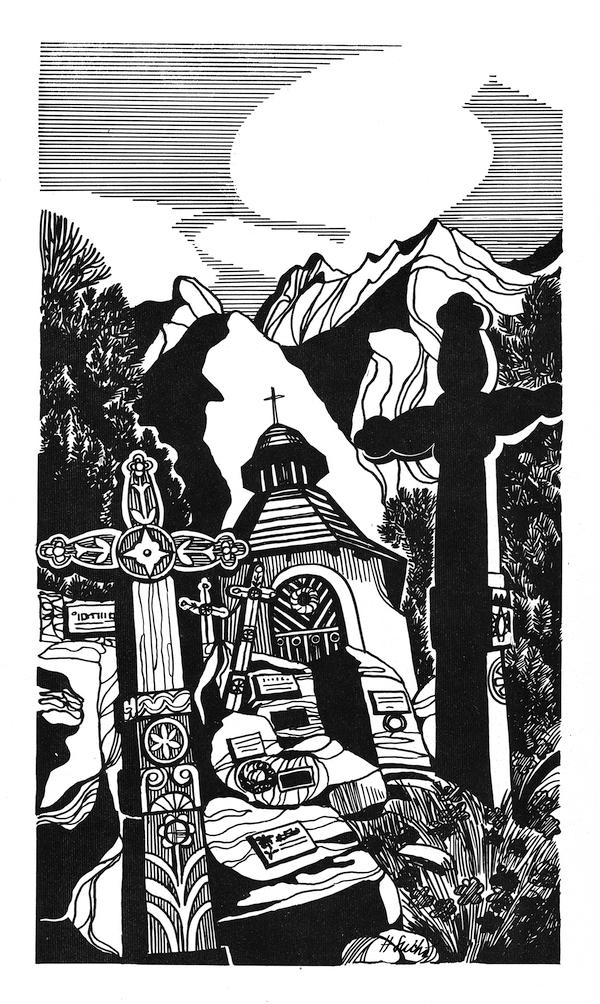 Symbolický cintorín, kresba na kriedovom papieri. Ilustrácia pre bedeker hotela Panoráma, š.p. Čedok - Interhotel Tatry, 1984