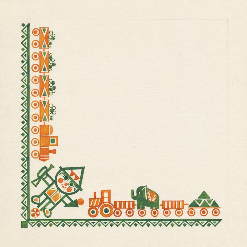 Návrh dezénu vreckoviek. Realizované pre Harmanecké papierne, n.p. Harmanec, 70 .– 80. roky 20. storočia