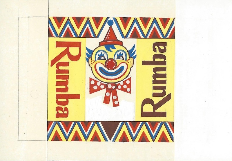 Návrh obalu čokolády Rumba, kombinovaná technika na papieri, koniec 60. rokov 20. storočia
