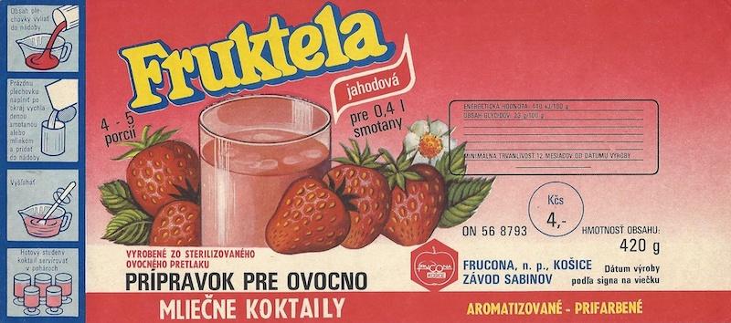Fruktela, papierová etiketa. Realizované pre Frucona, n.p. Košice závod Sabinov, 90. roky 20. storočia