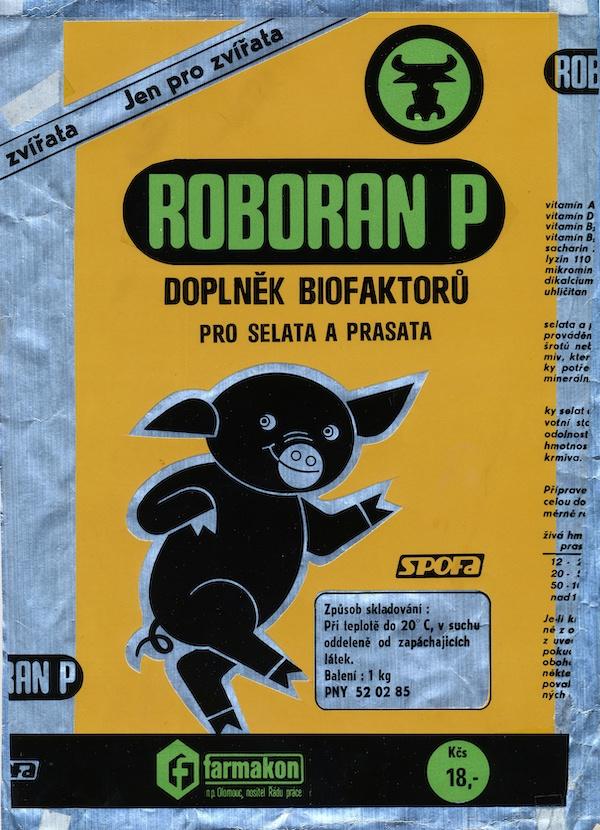 Roboran P, návrh na obal, kombinovaná technika na alufólii. Realizované pre Farmakon, n.p. Olomouc, 70. roky 20. storočia