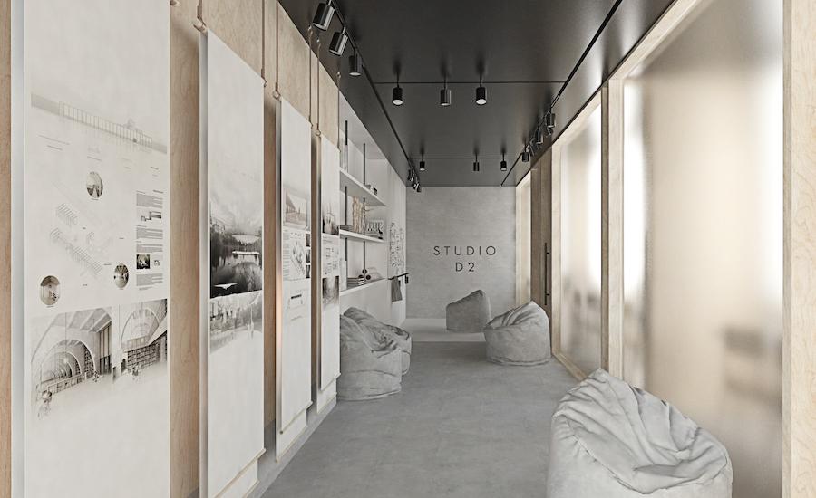 Čestné uznanie vkategórii Dizajn interiéru – semestrálne práce: Katarína Csúzová: Aktívny verzus pasívny priestor, TU Zvolen, Vizualizácie Katarína Csúzová