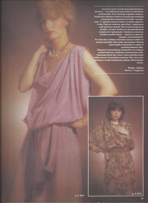 Vlasta Hegerová: hodvábne šaty zvývojového ateliéru časopisu Móda, 1985. Časopis Móda 8/1985. Foto archív SMD