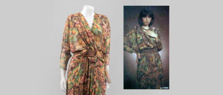 Vlasta Hegerová: hodvábne šaty zvývojového ateliéru časopisu Móda, 1985.