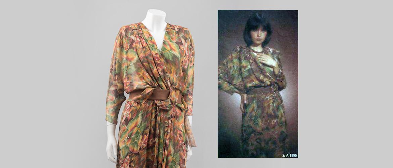 Vlasta Hegerová: hodvábne šaty z vývojového ateliéru časopisu Móda, 1985.