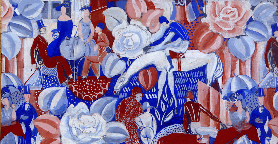 Raoul Dufy, Paddock alebo pólo v Bagatelle, gvaš na papieri, motivy použité v textíliach pre Bianchini-Férier © Bianchini-Férier