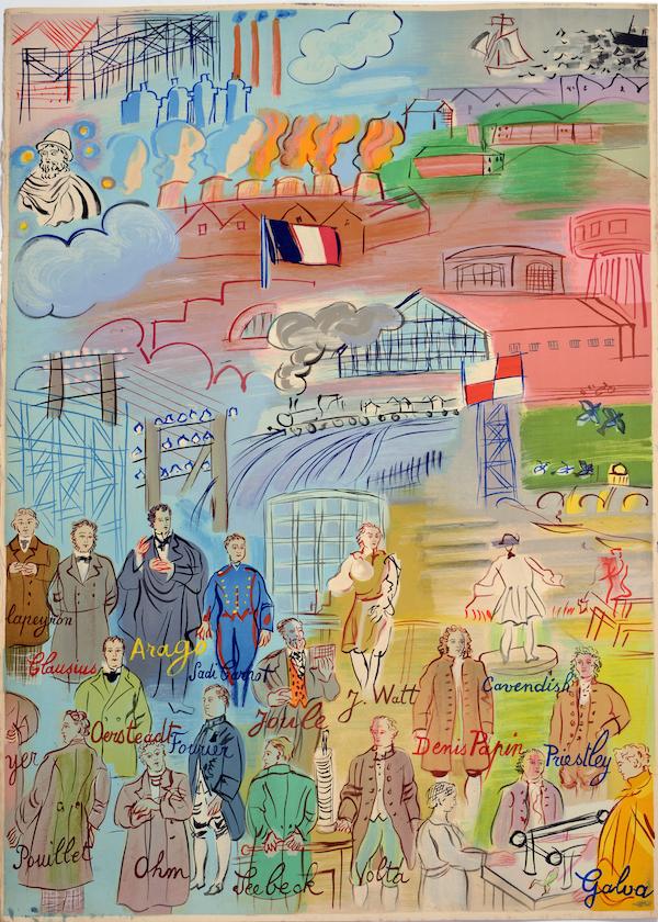 Raoul Dufy, Víla Elektrika (detail), 1953, litografia podla maľby z Pavilónu elektriky (Svetová výstava v Paríži, 1937) © ADGAP Paris, 2019
