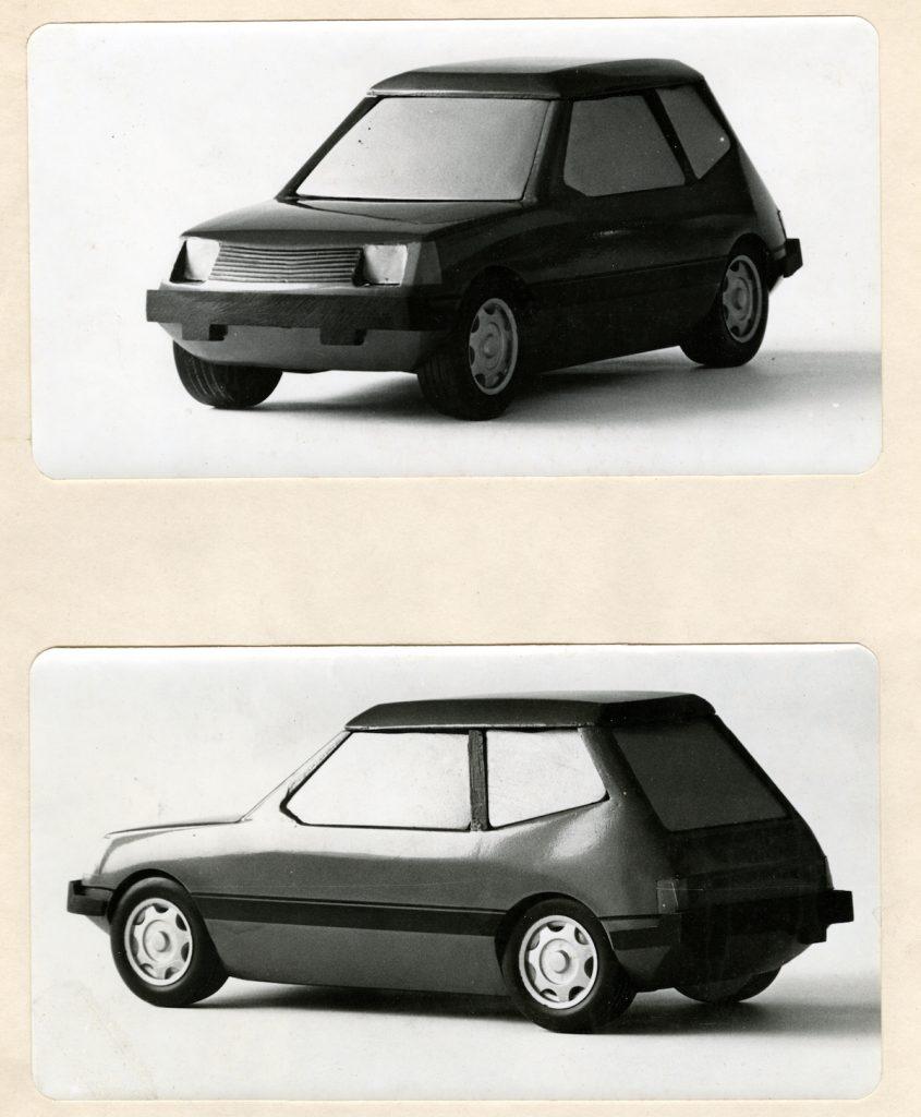 Návrh automobilu, fotografia modelu. Základná škola, 1969. Foto archív SMD