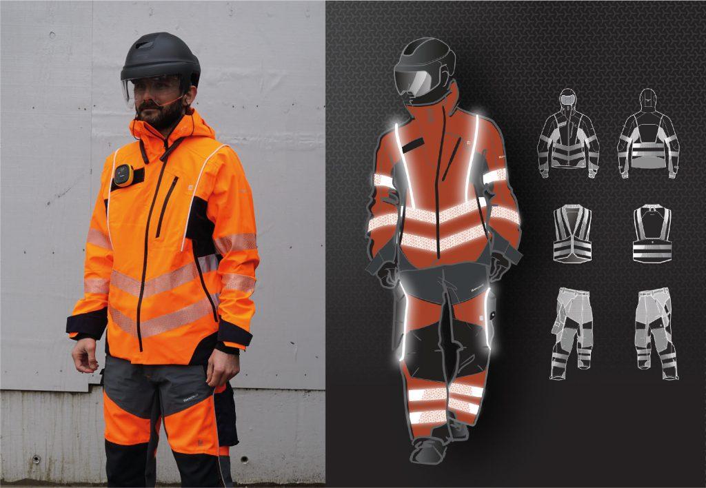 Jana Bačinská: Vodeodolná bunda a pracovné nohavice s integrovanýmLED svetlom, Light Clothing, 2017