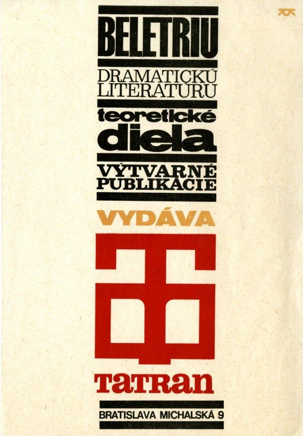 Reklama pre vydavateľstvo Tatran, 2. polovica 60. rokov