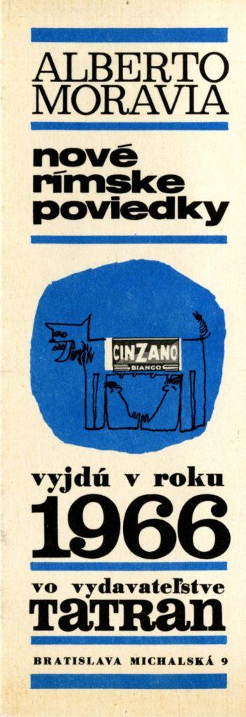 Reklamná záložka s novinkou talianskeho spisovateľa Alberta Moraviu Nové rímske poviedky, 1966