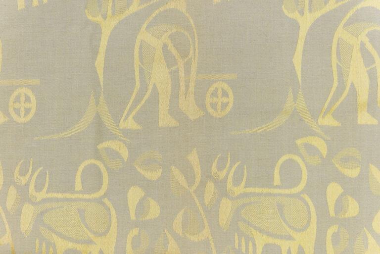 Dekoračná tkanina so štylizovaným motívom roľníka