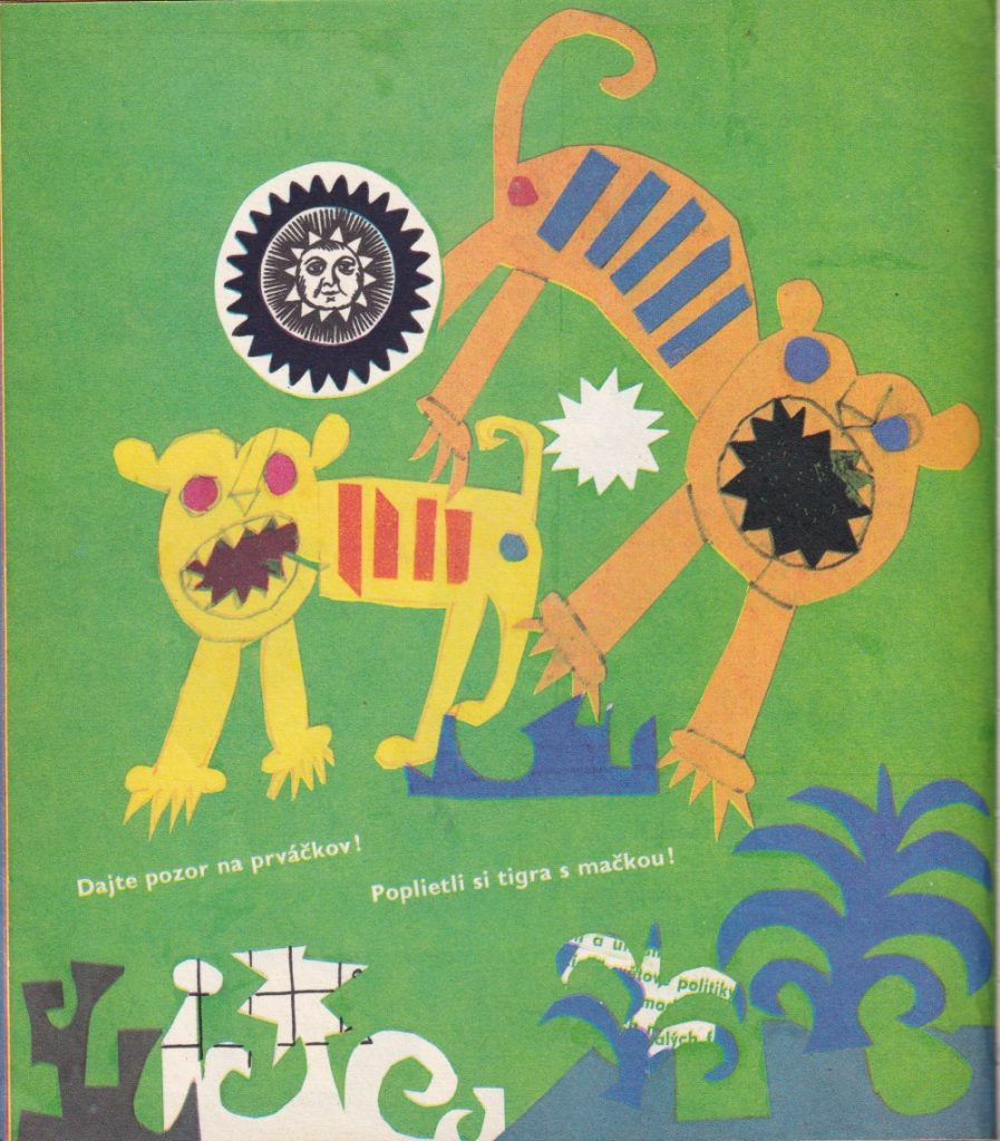 Obálka a jedna z ilustrácií  ku knihe Samuila Maršaka Kolotoč (Mladé letá, 1968). Autor využíva motív papier collé. Foto: archív autora