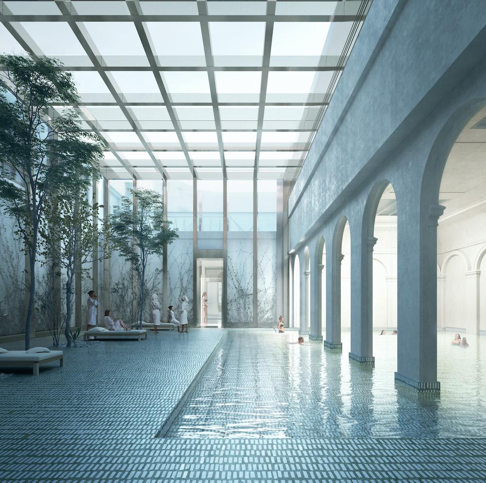 Interiér kúpeľov Grössling, vizualizácia. Víťazný návrh. Foto: archív MIB Bratislava