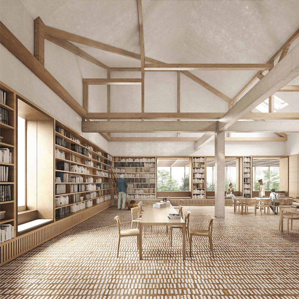 Interiér Mestskej knižnice v Mestských kúpeľoch Grössling, vizualizácia. Víťazný návrh. Foto: archív MIB Bratislava
