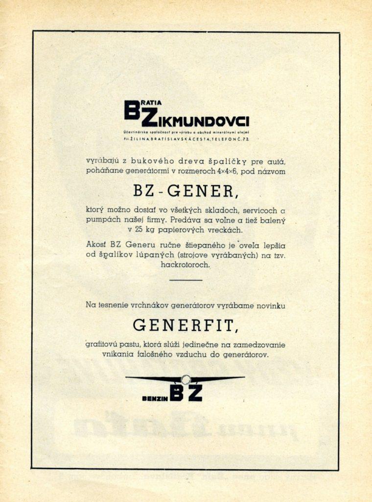 Dobová reklama úč. spol. Bratři Zikmundové v časopise Autoklub 1940 – 1943. Foto: Maroš Schmidt