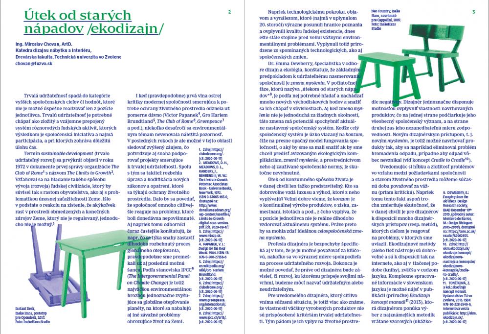 Udržateľný rozvoj v kultúrnej a kreatívnej praxi, Útek od starých nápadov / ekodizajn
