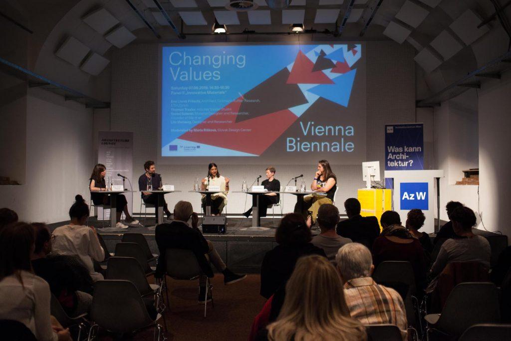 Panelová diskusia v rámci podujatia Changing Values, Vienna Biennale, september 2019. Vpravo Mária Rišková. Foto: archív SCD