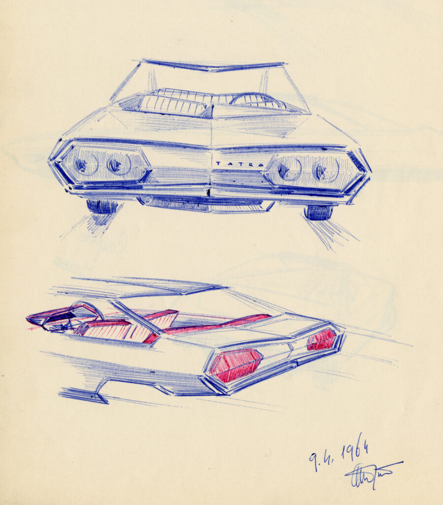 Ján Oravec, kresbové návrhy Tatry 603 X, Tatra Kopřivnice, závod Bratislava, 1964. Zbierky SMD