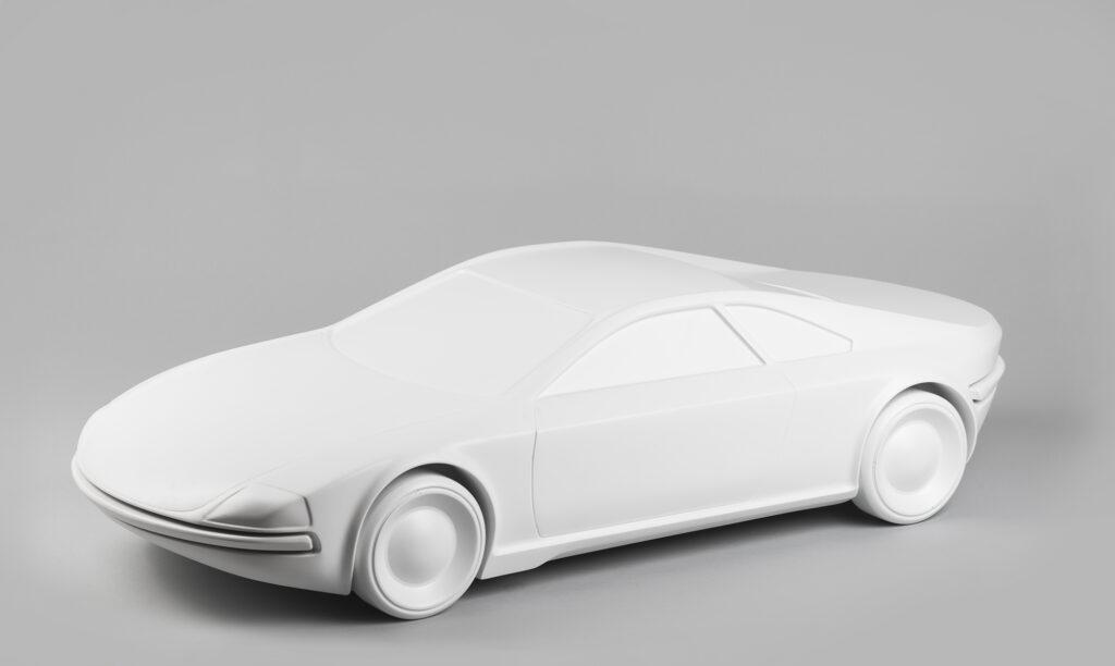 Peter Chudý, model športového automobilu Melkus v mierke 1:4, pôvodný dizajn: 1967, replika: 2016. Zbierky SMD. Foto Adam Šakový