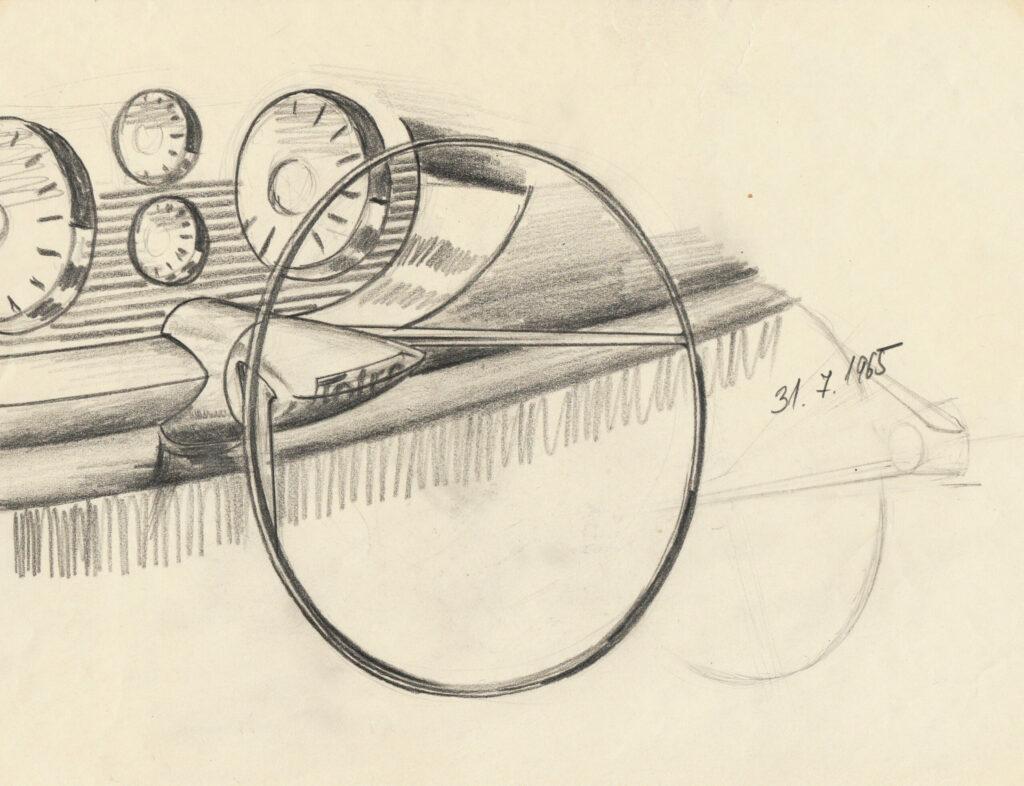 Ján Cina, kresba interiéru osobného automobiluTatry 603 X5, Tatra Kopřivnice, závod Bratislava, 1965. Zbierky SMD