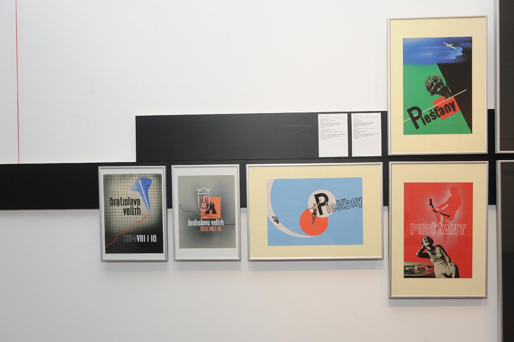 Návrh na plagát Bratislava – veľtrh, 1933, tempera, Návrh na plagát – Piešťany, tempera, 1932 – 1936 od Ladislava Csádera.