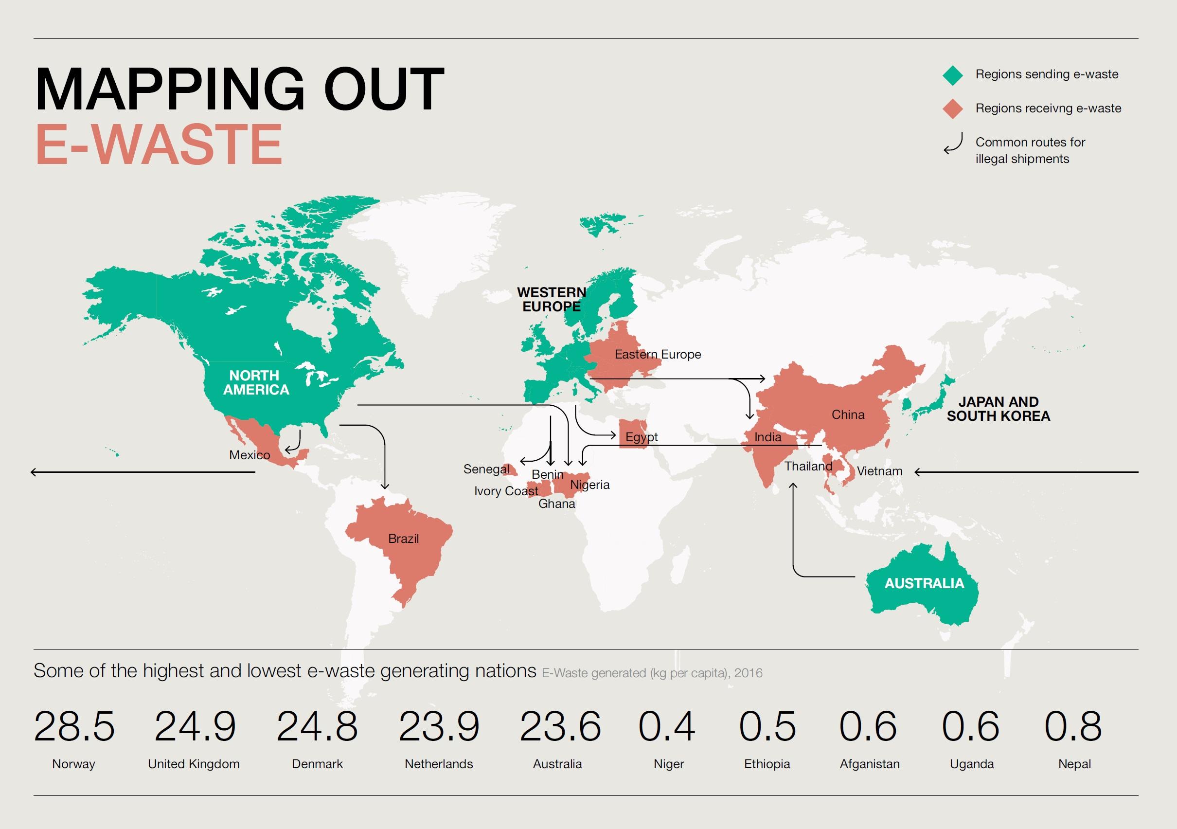 Obr. 6 Mapa elektronického odpadu (Zdroj: A New Circular Vision for Electronics, Time for a Global Reboot, January 2019)