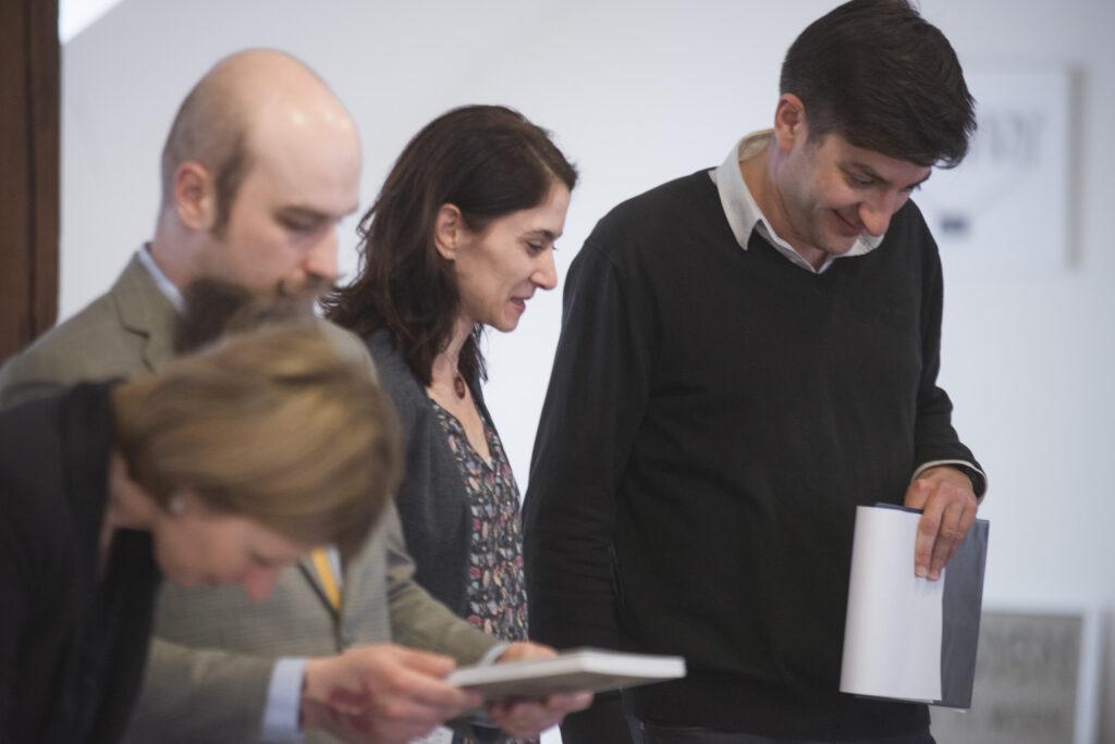 Z hodnotenia poroty NCD 2016. Zľava: Klára Kvízová, Martin Pecina, Sonia de Puineuf, Peter Hajdin. Foto archív SCD