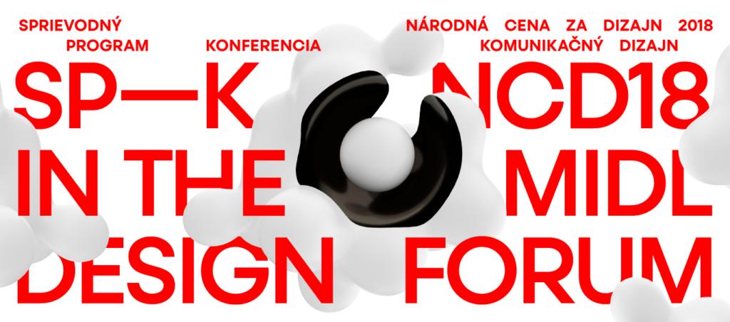 Leták ku konferencii in the midl design forum, sprievodný program NCD 2018. Dizajn: Samo Čarnoký, Matej Vojtuš