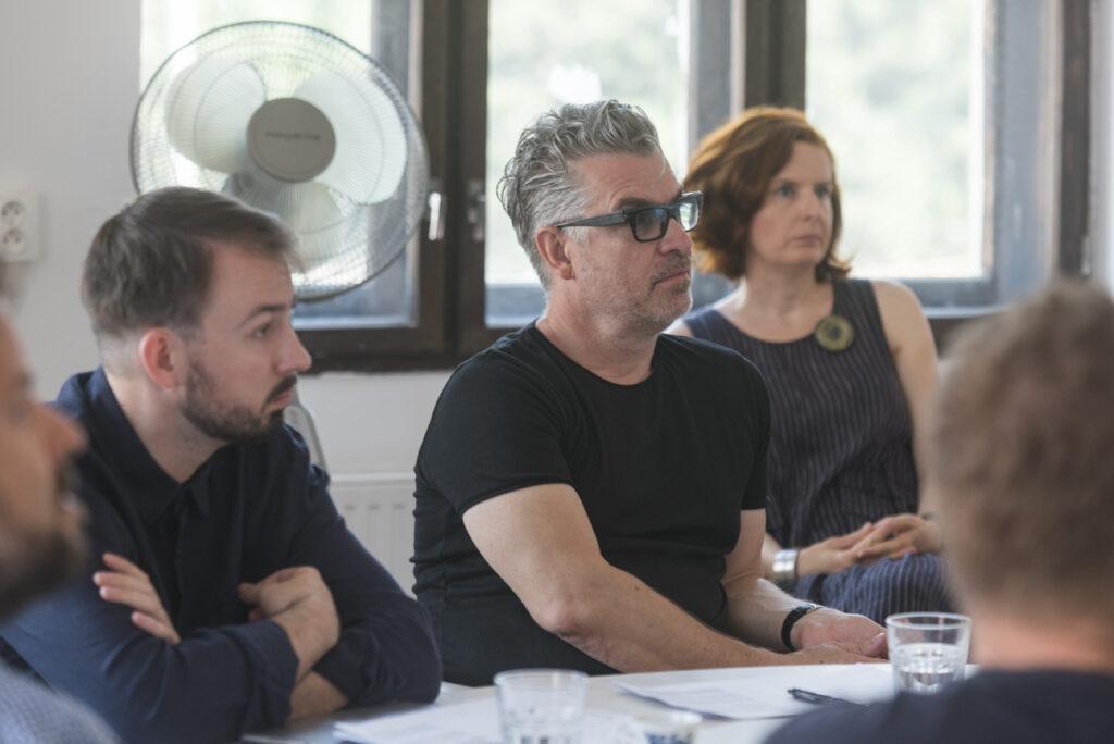 Z hodnotenia poroty NCD 2019: Zľava: Maroš Schmidt, Jakub Pollág, Michal Froněk, Zuzana Šidlíková Foto archív SCD